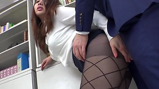 Beautiful Busty Japanese Lady - Office Sex, Big Tits And Hairy Pussy