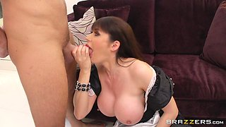 Mature wife Eva Karera tease in stockings and rides her husband