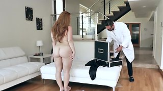 Red-haired MILF with great assets analyzed by hung doctor