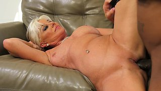 Interracial sex scene with a cock hungry blonde MILF lady