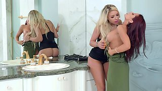 Classy girls Carmen Caliente and Madison Ivy hook up in the bathroom