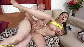 Steamy Chubby Teen Rough Banged by Grandpa