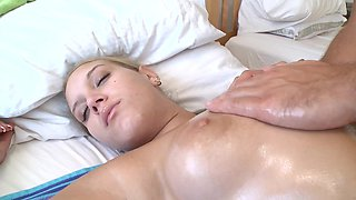 Curvy blonde with big titties rides her man's lovely meat pole