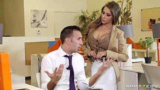 Terrific office sex scene with busty cougar Madison Ivy