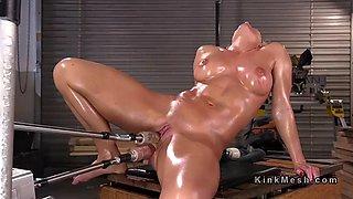 huge tits oiled mature anal fucks machine