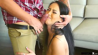 IT guy bangs seductive young housewife Sabrina Banks in mouth and pussy