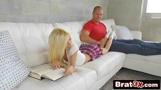 step brother fucks step sis on couch while reading ...