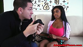 Busty black teen tied up and roughly fucked