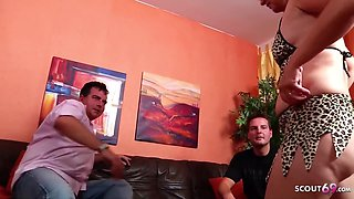 German Mature Maid Tricked To Threesome Sex By Dad And