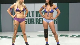 Wild Lesbian Fucking with Horny Wrestlers And A Big Strapon