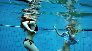 Hot Russian girls swimming in the pool