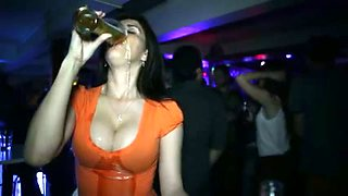 Pasty girl drinks the whole pint of beer making her big tits wet