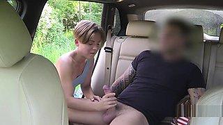 Short haired brunette fucks huge dick in taxi
