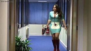 Mistress Emma Green dressed in a tight latex nurse uniform