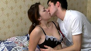 Sweet Russian teen with perky boobs gets nailed on the bed