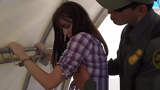 Outdoor deepthroat and fucking with a border agent in uniform
