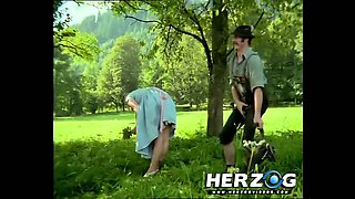 Sexy peasant babe Heidi banged in nature by hunter