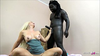 Nympho Teen First Time Threesome with Two Black Monster Cock