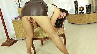 milf fucked in tan shiny pantyhose