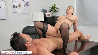 Killing hot female boss Ryan Keely gets her pussy licked and fucked by new employee Johnny Castle