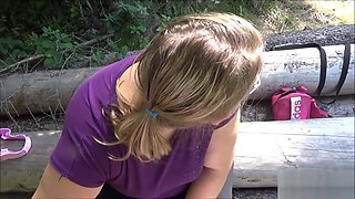 Big booty teen fucks and blowjob on a walk through the woods