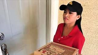 Tag teaming Asian pizza delivery chick for a tip
