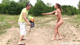 Nude girl Adelle goes to take a swim in the lake and gets fucked