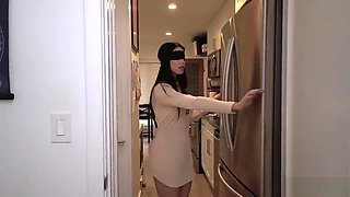 Horny Brother Tricks Stepsister To Do the Blindfold Challenge for Cock