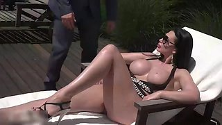 Hot milf relaxes outdoors with two young lovers show 144