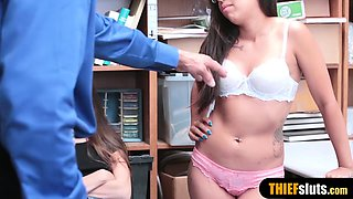 Cute teen thief stepsisters punish fucked by dirty cop