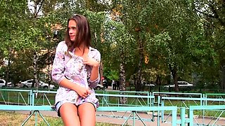 Shameless Russian teeny flashing her hot body in the street