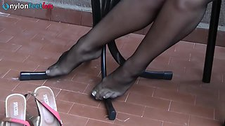 Sweet blonde models beautiful stockings just for you