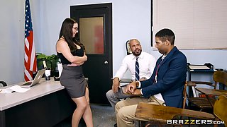 Ms. White Seduces Students Dad And Rides His Big Cock On The Desktop - Angela White