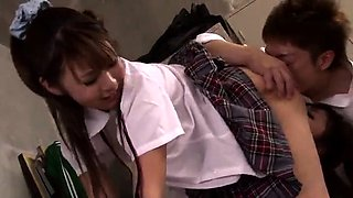 Naughty Oriental schoolgirls share their passion for cock