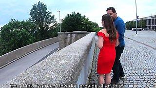 HUNT4K. Sweet pale-skinned lady in red dress gets