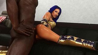 3D Animated WWE sasha banks DIVAS WRESTLING