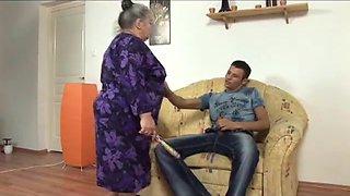 big beautiful woman granny takes youthful strapon