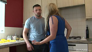 Wondrous blond haired housewife Kaz B is so into fuck in the kitchen