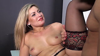 Black Stockings Secretary ANDREA DJOLY Hard Fucking