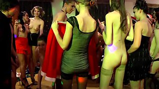 Group of chicks gets naked at a party and they do a very hot orgy
