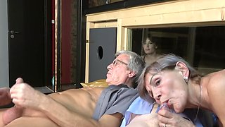 Amateur group sex at home between a younger teen and older people