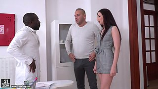 Kinky black doctor fucks whore wife Violetta C in the presence of her husband