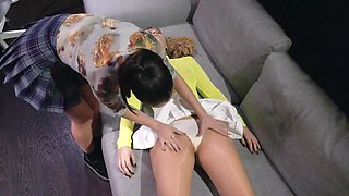 Nata Ocean And Casey Norhman In Lesbians On The Couch Caress Each Other And Fuck With A Strapon