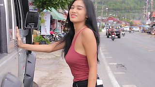 Charming Asian model with C-cup boobs Kahlisa is sunbathing naked