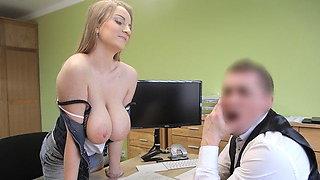 LOAN4K. Loan agent fucks customer as he wants and comes on
