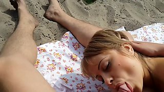 public blowjob on the beach then cum in mouth and swallow