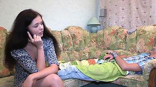 Sexual teen brunette diva Natalie Lust enjoys slim jim