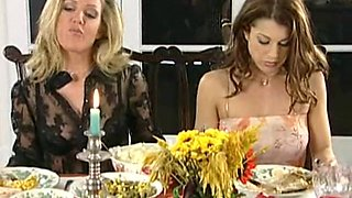 Lesbian dinner and spanking party