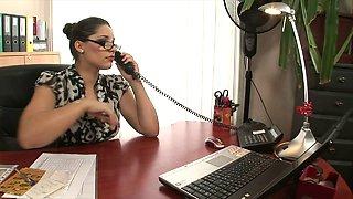 Hot blonde and brunette office sluts fuck on a desk