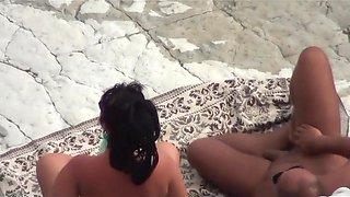 At a public beach man share his wife with a stranger voyeur_720p